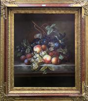 Sale 8663 - Lot 2024 - Artist Unknown - Still Life, oil on canvas, 81x70cm (frame) -