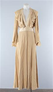 Sale 8800F - Lot 1 - A vintage 1970s Ossie Clark, London wrap dress in (presumed) silk crepe with satin trim, size 10