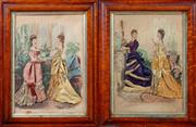 Sale 8882H - Lot 62 - A pair of late C19th French fashion dioramas of hand coloured still engraving plates, couched with fabrics, signed Anais Coudouze, 4...