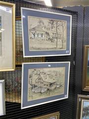 Sale 8978 - Lot 2031 - 2 Works: Jeanette Stedman Colonial Windsor & Old Domain Boatshed ink on paper,  44 x 55 cm (frames)