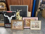 Sale 9072 - Lot 2072 - Group of (7) Assorted Paintings and Prints