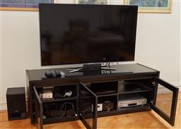Sale 9098H - Lot 92 - A Samsung 55inch Television on metal stand together with a Sony Sound bar and subwoofer and four additional speakers, a Sony blu ray...