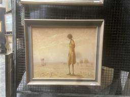 Sale 9111 - Lot 2033 - Clifton Pier Pedirka Siding oil on board 62 x 72cm (frame) signed