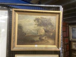 Sale 9111 - Lot 2024 - Artist Unknown (19th century), Landscape with Early Settlement Cottage, oil on board (A.F), frame: 48 x 58 cm, signed