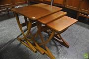 Sale 8326 - Lot 1091 - Teak Nathan X-Frame Nest of Three Tables