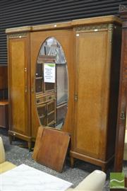 Sale 8402 - Lot 1021 - Breakfront Armoire with Oval Mirrored Door