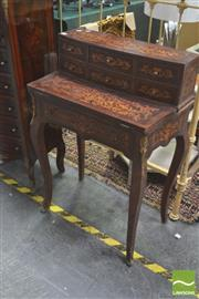 Sale 8418 - Lot 1094 - Inlaid Ladies Desk w Fold Out Top & 6 Drawers
