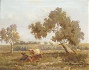 Sale 8510 - Lot 561 - Australian School (XIX - XX) - Landscape with Cattle 29 x 37cm
