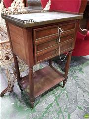 Sale 8559 - Lot 1053 - Late 19th Century French Mahogany Bedside Cabinet, with grey marble top & brass gallery, a door modelled as three faux drawers & ope...