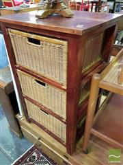 Sale 8545 - Lot 1095 - Timber Chest of Three Wicker Drawers