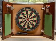 Sale 8677A - Lot 62 - A wall mounted dart board by Heron & Smith, Sydney with three packets of darts