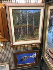 Sale 8702 - Lot 2044 - (2 works) Artist Unknown River Scene oil on board, signed lower left; Barramundi, acrylic painting, signed lower right.