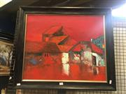 Sale 8707 - Lot 2018 - Phongy - Village Homes acrylic on canvas, 62 x 72cm, signed lower right