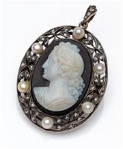 Sale 9015J - Lot 76 - An antique hardstone cameo pendant brooch, C: 1880s, the beautifully detailed portrait hardstone cameo set within a gold and silver...