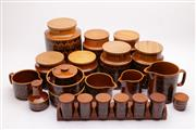 Sale 9035 - Lot 19 - Collection of Hornsea cannisters incl. spice rack ( small chip to base of one bowl)