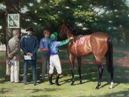 Sale 9141 - Lot 573 - Alister Simpson (1934 - ) Saddling Paddock, Keeneland oil on canvas 44.5 x 60 cm (frame: 66 x 81 x 6 cm) signed lower left