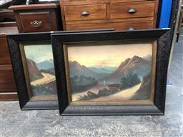 Sale 9139 - Lot 2067 - Pair of (C19th) oil paintings of New Zealand Highland Scenes, 77 x 97cm each