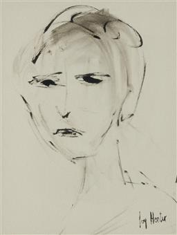 Sale 9161 - Lot 597 - JOY HESTER (1920 - 1960) Portrait ink and wash 32.5 x 24.5 cm (frame: 51 x 45 x 2 cm) signed lower right