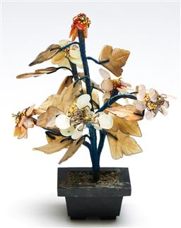 Sale 9246 - Lot 88 - A carved agate and quartz Chinese tree (H:20cm)