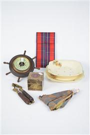 Sale 8381B - Lot 83 - Half Doll Broom, Meakin Salad Bowl, Nut Cracker, Plated Trinket Box, & Barometer