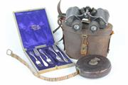 Sale 8403 - Lot 27 - Carl Zeiss Nedinscos Gravenhage 8x30 Multifocal Binoculars with Other Vintage Wares incl. Tape Measure