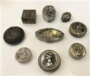 Sale 8436A - Lot 42 - A group of nine metal pill boxes decorated with various busts and figural groups inc one marked 925.