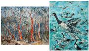 Sale 8475A - Lot 5049 - Essie Nangle (1915 - 2006) (2 works) - Bark Shredding (Sclorophyll Forest, Blue Mountains); Canada Geese 60 x 75cm; 75 x 60cm