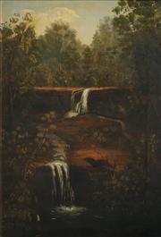 Sale 8510 - Lot 560 - Australian Colonial School (XIX - XX) - Waterfall with Natives 99 x 67cm
