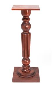 Sale 8518A - Lot 17 - A vintage mahogany carved, turned and fluted display pedestal on a square base. HT: 108cm x W: 40cm x D: 40cm