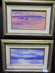 Sale 8569 - Lot 2049 - John Henderson (2 works) Tropical Sunset & Late Afternoon, Winter, oils on board, 11.5 x 22cm and each signed lower left
