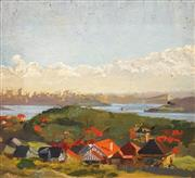 Sale 8597 - Lot 503 - Constance Tempe Manning (1896 - 1960) - Overlooking the Harbour 38.5 x 35cm