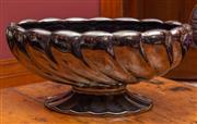 Sale 8625A - Lot 102 - A Beswick ovi form silver lustre glazed glass footed bowl, length 38cm.