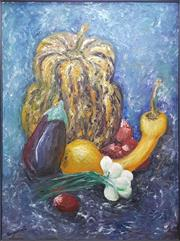 Sale 8636 - Lot 2015 - Suzanne G - Still Life with Gourd Acrylic on canvas SLL  121 x 90 cm