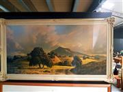 Sale 8668 - Lot 2038 - Vintage Print of a Hillside Scene in an Ornate Frame, total frame size H 72 x W 134cm