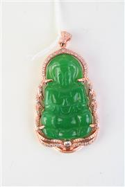 Sale 8815C - Lot 71 - Chinese Green Pendant of Buddha with Gilt Surrounds