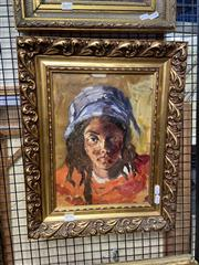 Sale 8927 - Lot 2020 - Artist Unknown - Girl with a Blue Headscarf oil on canvas, 50 x 40 cm, signed