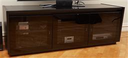Sale 9098H - Lot 93 - A tempered glass black entertainment unit, height 53cm x Width 160cm x Depth 62cm