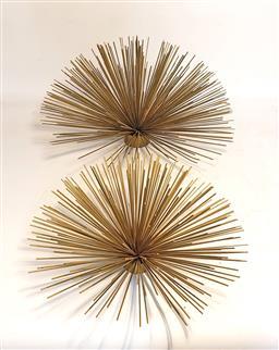 Sale 9134 - Lot 1029A - Pair of mid century graduating pair of metal sphere wall scones (d:40cm)