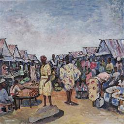 Sale 9170A - Lot 5083 - HENRI TERIS Scene of Lagos Market, Nigeria oil on canvas 122 x 122 cm signed lower right