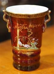 Sale 8320 - Lot 710 - Small beaker sized 1950s Carltonware Rouge Royale vase with crane decoration