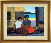 Sale 8316 - Lot 573 - Ray Crooke (1922 - 2015) - Islanders Resting 60 x 75.5cm