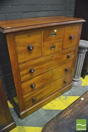 Sale 8390 - Lot 1066 - A Late 19th Century Cedar Chest of Seven Drawers with attached fall plinth