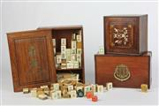 Sale 8463 - Lot 30 - Boxed Timber Mahjong Set with Another and Timber Inlaid Box