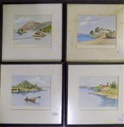 Sale 8563T - Lot 2063 - Artist Unknown (4 works) - Greek Coastal Scenes, watercolours, 27 x 29cm (frame), each signed lower