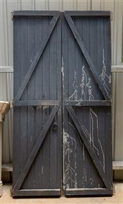 Sale 8677A - Lot 64 - A good set of painted timber barn doors, H 248 x W 130cm (total)