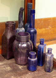 Sale 8795A - Lot 70 - A collection of early blue glass bottling, height of tallest approx 24cm