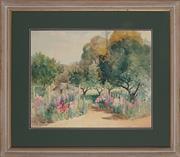 Sale 8892 - Lot 598 - Ann Hedley Parsons (1870 - 1960) - Cottage Among Hollyhocks 42 x 52 cm