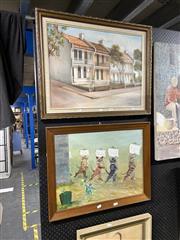 Sale 8888 - Lot 2068 - 2 Artworks; Sara - Cats, Acrylic, SLR, 43x57cm & Heather Gardine - Paddington, oil, SLL, 44x59.5cm