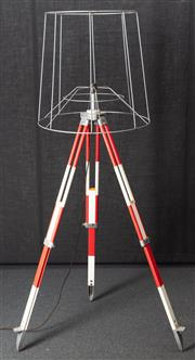 Sale 8984H - Lot 17 - A wombat hollow standard lamp repurposed from a red and white surveyors tripod and metal shade frame. Height approx 200cm