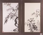 Sale 9010D - Lot 751 - Two Mounted Chinese Ink Wash Paintings (61x33cm - image only)